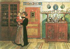 """Carl Larson """"Mellan Jul och Nyår"""" (1896), ur Ett Hem. Jungfrun Helena håller Kersti i famnen. Nationalmuseum."""