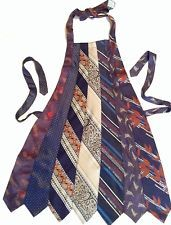 Necktie Apron OOAK Upcycled, Recycled, Re-Purposed ORIGINAL Handmade Blues