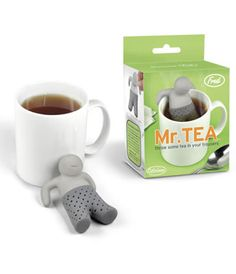 Now there is more to love about having your lovely cup of tea with this cute tea infuser.  Just fill Mr. Tea's pants with your favourite tea leaves, place him on the side of your cup and he will work his magic.  Your favourite brew will be ready in no time at all.