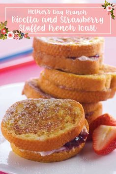 Tre Stelle® Ricotta and Strawberry Stuffed French Toast Strawberry Preserves, Strawberry Jam, Bread Jam, Thing 1, Mothers Day Brunch, White Bread, Confectioners Sugar, Ricotta, French Toast