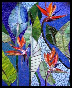 Bird of Paradise Mosaic by Judith Scallon http://www.scallonart.com/florals.html