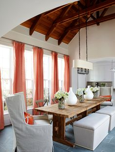rustic dining, mixed seating, exposed rafters