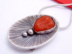 Vintage Carlos Diaz Arizona Sterling Silver Red Coral Pin Pendant from The Noisy Boy & The Disorderly Girl on Ruby Lane
