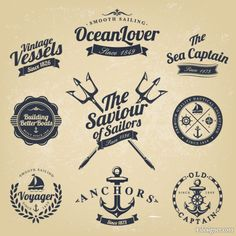 Classic nautical stickers 03 Vector
