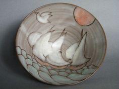 #0778   Rare 'Sailing Ships' Studio Pottery Bowl by Tessa Fuchs
