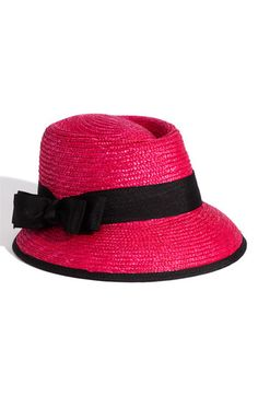 Halogen 'Long Brim' Straw Hat in Fuchsia Black