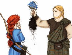 "Merida and young MacGuffin from ""Brave"". From the artist's comments: ""An early, story-boarded epilogue to the movie ""Brave"" featured Merida choosing him from among her suitors. While I'm glad the movie made the decisions it did, it had amusing potential. Disney Nerd, Arte Disney, Disney Fan Art, Disney Magic, Disney And Dreamworks, Disney Pixar, Disney Characters, Disney And More, Disney Love"