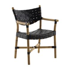 Crafted from black leather and natural rattan, the open weave of the Morrison chair exudes a breezy style to any transitional space. The rattan arms on the chair add a hint of formality.