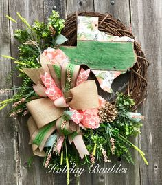 A personal favorite from my Etsy shop https://www.etsy.com/listing/517575129/texas-wreath-shabby-chic-texas-wreath