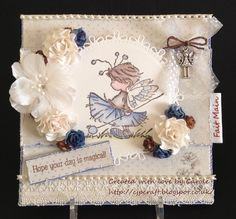 LOTV Pom Pom for Challenge ribbon, pearls and charm DT post