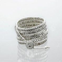 White leather silver bead wrap bracelet