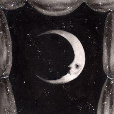 """Celestial Theater: Man in the Moon"" - watercolor painting I did recently (Dark Town Sally) ©Naisa Gomez Plúguez I'll be restocking prints of this one soon! Xiii Tarot, Illustrations, Illustration Art, Sun Moon Stars, Night Circus, Paper Moon, Good Night Moon, Moon Magic, Moon Art"