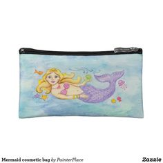 Shop Mermaid cosmetic bag created by PainterPlace. Flower Girl Gifts, Personalized Wedding Gifts, Feeling Special, On Your Wedding Day, Bridesmaid Gifts, Cosmetic Bag, Little Girls, Coin Purse, Mermaid
