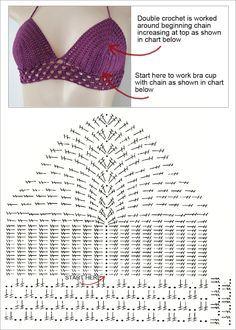 Pretty free bikini top for crochet. Great bikini top, with a simple . - Fitness Pretty free bikini top for crochet. Great bikini top to go with a simple . Motif Bikini Crochet, Tops A Crochet, Crochet Bra, Crochet Crop Top, Crochet Clothes, Crochet Books, Crochet Stitch, Simple Crochet, Crochet Gratis