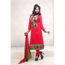 Admyrin Red Embroidered Georgette Anarkali Suit