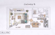 Indeling open keuken nieuwbouwhuis Drawing Interior, Interior Design Sketches, Apartment Layout, Apartment Interior Design, Diy Furniture Tv Stand, Home Suites, Plan Sketch, Sims, Kitchen Design Open