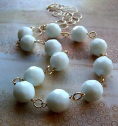 Lovely in White  Gold and Jade Necklace by JustBeCreative on Etsy, $40.00