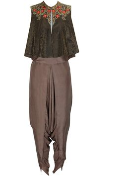 Black and copper brown floral embroidered jacket with dhoti pants available only at Pernia's Pop Up Shop.