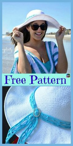 10 Most Beautiful Crochet Sun Hat Free Patterns - Wiezu Crochet Hat With Brim, Crochet Adult Hat, Crochet Summer Hats, Bonnet Crochet, Crochet Cap, Knitted Hats, Crochet Sun Hats, Easter Crochet, Crochet Patterns For Beginners