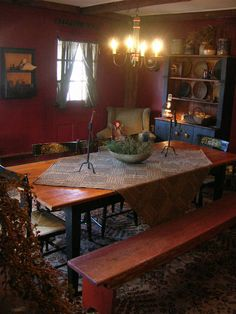 a primitive place primitive colonial inspired dining rooms - Primitive Kitchen Tables