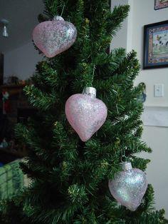 Set of 3 Light Pink Glass Heart Christmas Tree by CraftsbyCummins