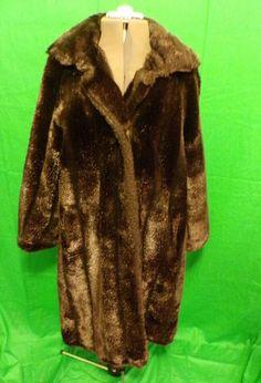 4bd130570d7 Vintage St. Moritz Sportowne Brown Faux Fur Full Length Lined Coat Size 18  Fur Fashion
