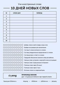 Чеклист для практики новых иностранных слов. Проделывайте действия из списка для того, чтобы запомнить новые слова и использовать их в практике. - #365done