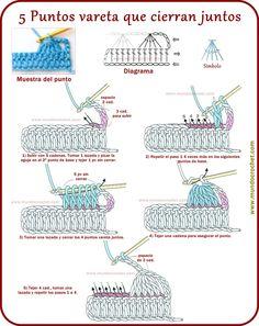 5 stick points that close together Crochet Cord, Single Crochet Stitch, Basic Crochet Stitches, Crochet Basics, Crochet Motif, Diy Crochet, Crochet Patterns, Crochet Flower Tutorial, Crochet Instructions