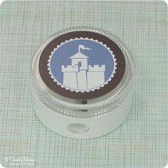 Anspitzer Ritterburg: Runder Anspitzer ♥ ca. 40 mm, Höhe 2 cm♥ der Deckel wird mit einem wasser- und wetterfestem Aufkleber versehen