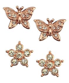 Amabel Designs Crystal & Rose Gold Butterfly Snowflake Stud Earring Set | zulily  . $18.99 $48.00 Product Description:  Update your earring collection with this nature-inspired set of rose gold-plated studs that feature shimmering crystal accents.      Includes two stud earrings     Butterfly studs: 0.5'' W x 0.4'' H     Snowflake studs: 0.4'' W x 0.4'' H     Rose gold-plated zinc alloy / crystals     Imported