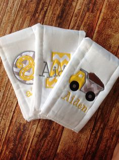 Set of 3 Personalized Burp Cloths - Diaper Cloths - Baby Boy - Monogrammed - Gift Set - Chevron on Etsy, $30.00