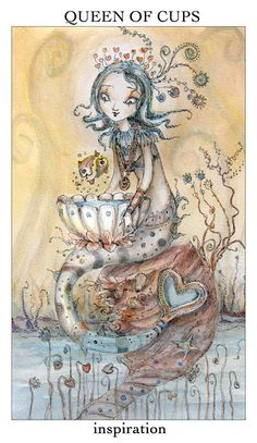 tarot by Paulina Cassidy :Queen of Cups~A woman capable of deep romantic love. A passionate woman in the creative arts. A woman who leads first with her heart and then her head. Love for one's mate and children Sense of protectiveness for friends and loved ones. Dedication. A woman in search of a long-term commitment. An attractive woman. Creative arts and alchemy. A loyal woman on your side.