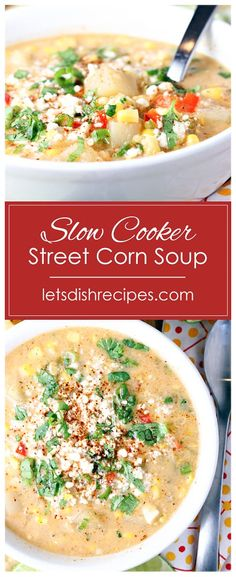 Slow Cooker Mexican Street Corn Soup Recipe -- Grilled corn and potatoes are slow cooked in a creamy, cheese broth, along with red pepper and jalapeno, in this hearty, late-summer soup recipe. #soup #corn #streetcorn #slowcooker #recipes Summer Soup Recipes, Corn Soup Recipes, Mexican Food Recipes, Crockpot Recipes, Kid Recipes, Delicious Recipes, Healthy Slow Cooker, Slow Cooker Soup, Pressure Cooker Recipes