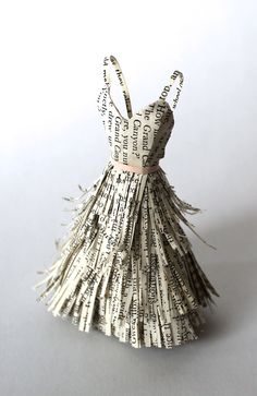 Miniature Paper Dress Sculpture   By Jacquie Duruisseau