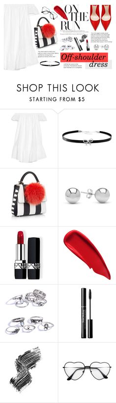 """Spring Trend: Off-Shoulder Dresses"" by blacksky000 ❤ liked on Polyvore featuring Elizabeth and James, Giani Bernini, Les Petits Joueurs, Jewelonfire, Christian Dior, Sisley and Illamasqua"