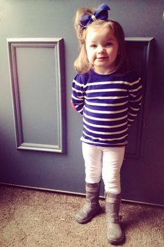 Cute little girl outfit. Clothes from oldnavy, boots from target. We love stripes, and bows!