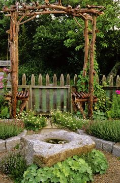 Country Garden Details: Green Country Garden Keywords: Seating, Garden Feature, Pergola, Fence, Ipomoea, Clematis Comtesse De Bouchaud, Thymus, Whimsical Gardening, Clematis, Birdbath, Arbour Seat, Alchemilla Mollis, More... (Source: Red Cover)