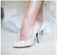 These White Glitter Low Heeled Shoes Should Be Worn Whenever There Is A Party Or Special