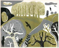 Landscape With Blackbirds - Melvyn Evans. Original linocut print of birds flying over a woodland landscape. Linocut Prints, Art Prints, Linoprint, Wood Engraving, Art Fair, Woodblock Print, Screen Printing, Contemporary Art, Art Gallery