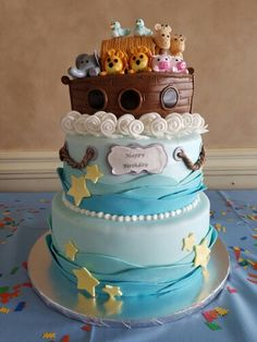1st birthday cake! Noah's ark cake!