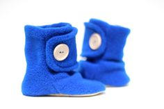 Bright Blue Leather Soled Polar Fleece Baby Booties. Children Fashion. Toddler Shoes. Soft Soled. Kids Boots.