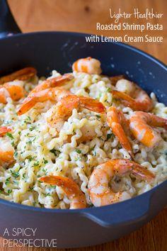 Lighter Healthier Roasted Shrimp Pasta with Lemon Cream Sauce on ASpicyPerspective.com #pasta #skinny #shrimp