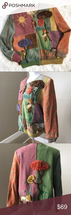 """Crystal Hand Woven Jungle Safari Sweater Jacket Crystal Hand Woven Jungle Safari Sweater Jacket. Size medium. Cotton/acrylic blend. Like new. Beautiful materials and colors. Zip up. 44"""" bust. 40"""" waist. 25.5"""" long. Crystal Hand Wovens Sweaters Cardigans"""