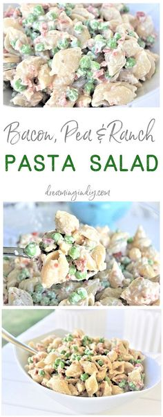 Easy Creamy Bacon Pea and Ranch Pasta Salad Side Dish Recipe Family Favorite - N. Easy Creamy Bacon Pea and Ranch Pasta Salad Side Dish Recipe Family Favorite - No chopping, dicing or waiting required. Ready in 15 minutes . Barbecue Sides, Barbecue Side Dishes, Side Dishes Easy, Side Dish Recipes, Cold Side Dishes, Picnic Side Dishes, Supper Recipes, Barbecue Recipes, Side Dishes For Turkey