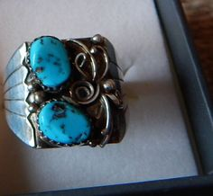 size 11 half turquoise ring Native American Jewelry Navajo vintage turquoise Texas horse sterling silver ring pow wow southwest jewelry by LittleCherokeeValley on Etsy