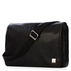 "Kinsale 13"" Black Leather Cross Body Messenger Laptop Bag from KNOMO: Official Store | Men's Black Leather Cross Body Bag | Stylish 13"" Laptop Bag | Messenger Laptop Bags | Designed by KNOMO London"