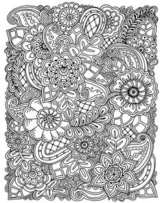 Contemporary line art of flowers and intricate designs overlapping each other.