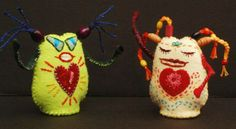 "Ulla Anobile: LOVE MONSTER: LIME (For a Good Time) and LOVE MONSTER: YELLOW (Mostly Mellow) - by artist Ulla Anobile Hand stitched felt, embroidery floss, polyfill, 3"" tall - BOTH SOLD"