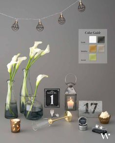 Don't let your fear of color overtake you! Get a gorgeous look like this confident blend of dark and light punctuated with metallic accents. All you have to do is follow a few simple steps! Planning your wedding colors can be a snap!