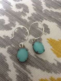 Vintage frosted turquoise glass oval antique silver by ajwear, $14.00